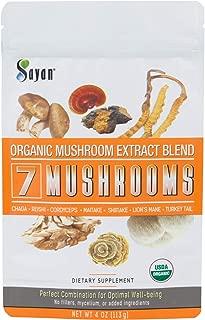Sayan 7 Mushrooms Organic Extract Powder Blend Supplement 4 oz / 113g - Chaga, Reishi, Cordyceps, Maitake, Shiitake, Lion's Mane and Turkey Tail, No Fillers, Add to Coffee or Tea, Fruiting Body