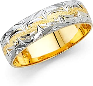 Solid 14k Yellow White Gold Wedding Band Diamond Cut Ring Brushed & Polished Two Tone Fancy 6 mm