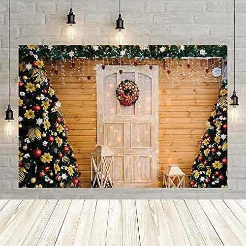 Navidad Invierno árbol Linterna Guirnalda de Madera Puerta de Pared Retrato Fiesta bebé decoración telón de Fondo Estudio fotográfico Personalizado Vinyl-250x180cm