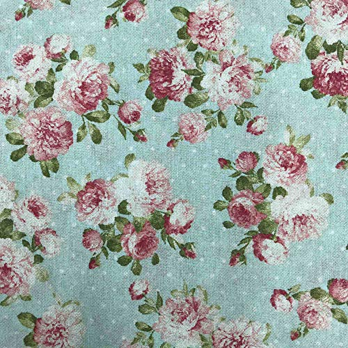 Kt KILOtela Tela de loneta Estampada - Retal de 100 cm Largo x 280 cm Ancho | Floral Sevilla - Rosa, Azul ─ 1 Metro