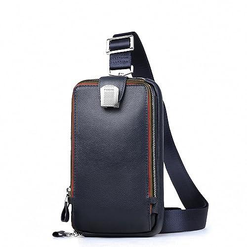 Men Leather Chest Crossbody Bag Casual Messenger Waist Pack