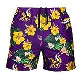 FOCO Mens Team Logo Floral Hawaiian Swimsuit Trunks, Color, XL (34'-36'), Minnesota Vikings, Team Color