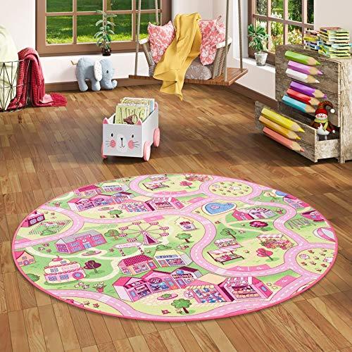 Snapstyle Alfombra Infantil Carretera para Chicas Redonda - Rosa - 4 tamaños