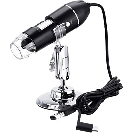 USB Digital Microscope,3in1 50X-1600X Magnification Microscope Camera for Coins with 8 Led Lights and Metal Base,Compatible with Windows 7//8//10 Mac Linux Android for Kids,Adults