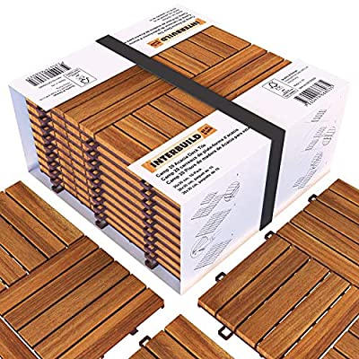 "Interbuild Camp 20 - Acacia Hardwood Deck and Patio Easy to Install Interlocking Flooring Tiles - 12""× 12"" – 10 Tiles per Pack - 10 Total sq. feet"