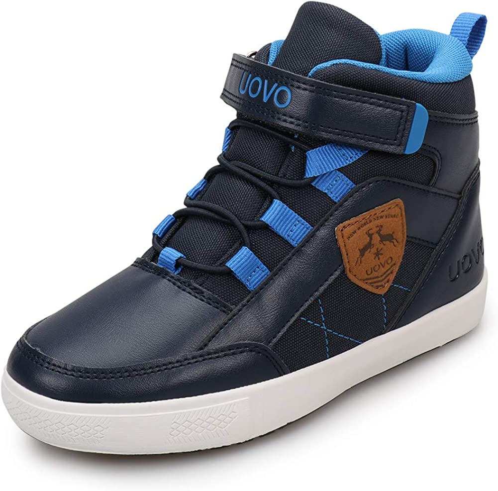 UOVO Boys Shoes Water Resistant Kids Boots Mid-Top Skateboarding Shoes Childern Athletic Boots Size