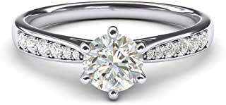 LANDA JEWEL Women's 14k white gold 1.0 CT Classic 6-Prong Simulated Diamond Engagement Ring Graduated Side Stones Promise ...