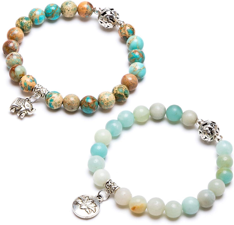 Bivei Gemstone Bead Max 49% OFF Bracelet for Yog Stone Crystal Healing Women Max 45% OFF
