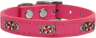 Mirage Pet Products 83-120 Pk16 Peppermint Widget Genuine Leather Dog Collar, Size 16, Pink
