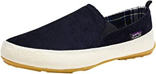 Mens Denim Canvas Flat Shoes Slip On Twin Gusset Check Lining Deck Shoes Espadrilles With Sole Rubber Outdoor Anti Slip Br...
