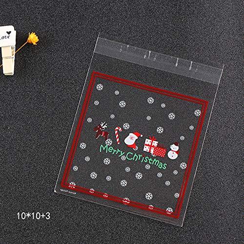 Minloor 100個 クリスマス用品 ギフトバッグ クリスマス カボチャDIY キャンディ/クッキー 袋 ビニール袋 お菓子 パッケージバッグ 誕生日 パーティー クラフト袋 クリアセロハンバッグ (スノーフレーク)