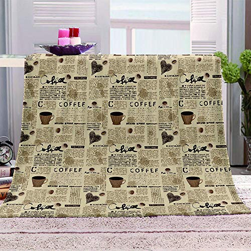MBWLKJ Fleece Blanket 3D Coffee Printed Bed Throws Soft Fluffy Nap Cover Cozy Plush Fuzzy Flannel Sofa Blanket Great for Boys Girls Kids Toddler Baby Teens Adults 50X60 Inch