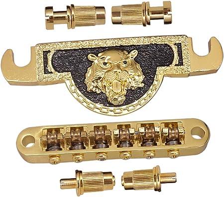 ライオンヘッドパターンテールピース / ギブソンレスポールギター交換用1セット亜鉛合金ブリッジ&ピース、ゴールデン
