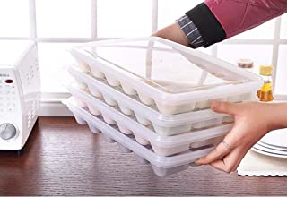 WEHOLY Kitchen Rack Plastic Dumplings Box with Cover Frozen Dumplings Storage Rack with Pigeon Holes (Size : 4 Layer)