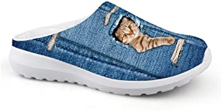 AXGM Men's Slippers Mesh Clogs Mules Beach Shoes Funny Cat Hole Animal Blue Design Non-Slip Unisex Casual Shoes Closed Toe...