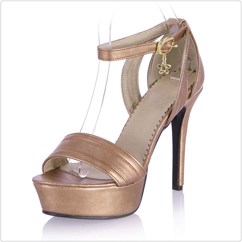 ZXCVB& 2018 Large Size 31-45 Summer Sandals Women shoes Buckle Strap Wholesale Platform Woman shoes High Heels Apricot 10