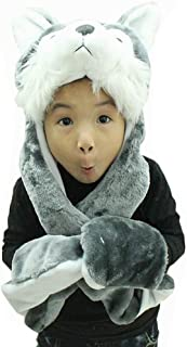 Hee Fly Plush Animal Winter Hats with Paws Type Wolf, One Size