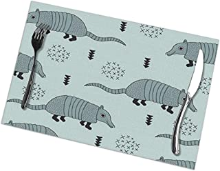 NiYoung Kitchen Placemats Heat Insulation Stain Resistant Large Tablemats for Dining Kitchen Restaurant Table, Non Slip Hot Pads (Set of 6, Cute Quirky Armadillo Cactus Woodland Place Mat)