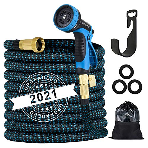 Expandable Garden Hose, Strength Fabric 3750D, 13 Latex Layers, 3/4' Solid Brass Fittings, 10 Function Spray Nozzle, Easy Storage Kink Free Flexible, Lightweight Hose for Watering and Washing