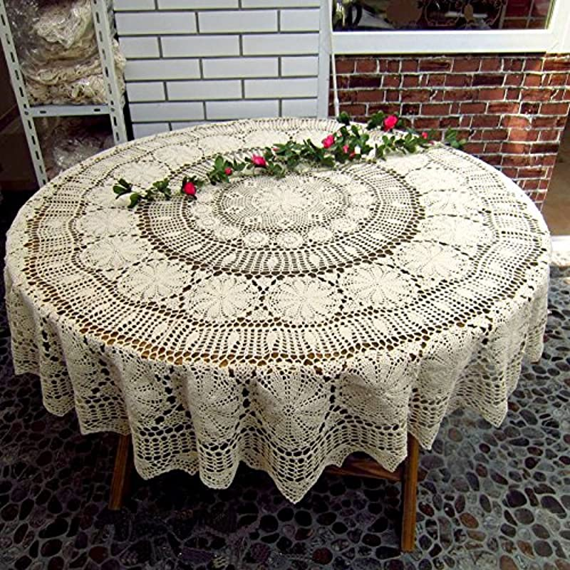 JINSHING Handmade Round 55 Vintage White Crocheted Cotton Lace Tablecloth Doily 55 Inch