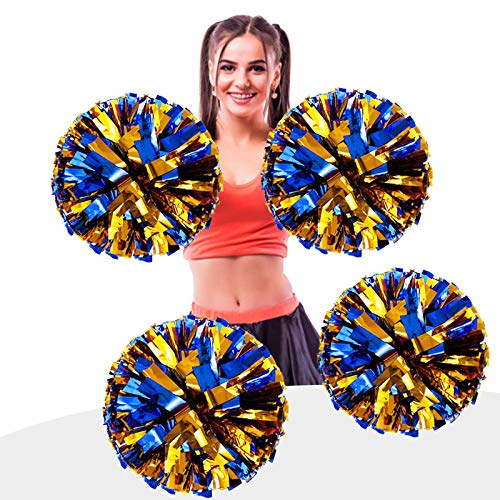 AUHOTA 4 Stück Metallfolie Cheerleading Pom Poms, Cheerleader Pompons Handblumen zum Sport Cheers Ball Dance Kostüm Nacht Party Team Spirit (6 Zoll) (Blau/Gold)