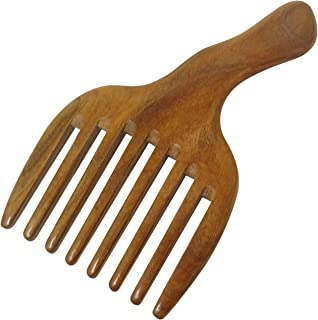 Honbay Wide Tooth Green Sandalwood Hair Comb Massage Comb, Made of One Whole Piece of Natural Green Sandal Wood
