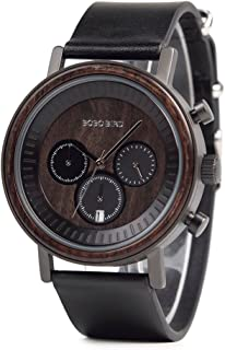 Mens Simple Luxury Sport Wooden Watches Stainless Steel Wood Date & Chronograph Watch(Black)