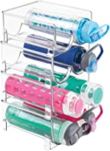 mDesign Plastic Freestanding Water Bottle Storage Organizer for Kitchen Countertop, Table, Pantry, Fridge - Holds Water Bo...