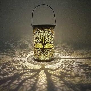 WZHZJ Métal LED Solaire lumière creux Motif Arbre Lampe Suspendue extérieur Jardin Décoration de jardin en fer forgé suspe...