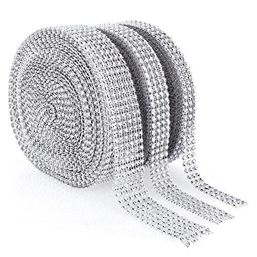 Acrylic Rhinestone Diamond Ribbon 3/4/6 Row 10 Yard (3 Rolls Silver)