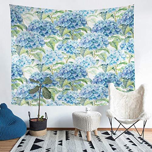 Loussiesd Tapiz con estampado floral de flores para niños, adolescentes, ramas botánicas para colgar en la pared, tema de la naturaleza, azul, decoración del dormitorio, tamaño grande de 128 x 179 cm