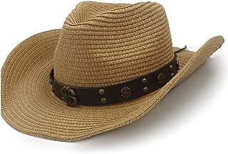 Fashion Sun Hat Raffia Hat Summer Ladies Fashion Men's Leather with Metal Dollar Pattern Decorative Rivet Straw Hat Cowboy Hat` TuanTuan (Color : Coffee, Size : 58cm)