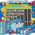 Premium Potty Training Chart - Our Colorful Design Will Encourage Your Child - Exciting Solution - Stickers + Diploma + Crown + Marker + Progress Charts + More! - Exciting Car Theme (Blue)