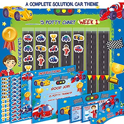 Premium Potty Training Chart - Our Colorful Design Will Encourage Your Child - Exciting Solution - Stickers + Diploma + Crown + Marker + Progress Charts + More! - Exciting Car Theme (Blue) by Qare