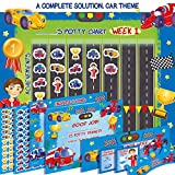 Premium Potty Chart - Our Colorful Design Will Encourage Your Child to Potty Train - Exciting Solution - Stickers + Diploma + Crown + Marker + Progress Charts + More! - Exciting Car Theme (Blue)