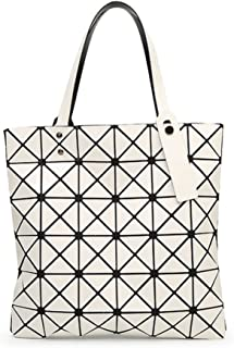 Katoony Womens PU Leather Geometric Diamond Lattice Shoulder Handbag Tote Bag Top Handle Bag Satchel