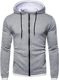 Autumn Winter Men Zipper Solid Pullover Long Sleeve Hooded Sweatshirt Tops Blouse