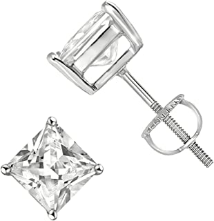 925 Sterling Silver Princess Cut Square Cz Screw Back Stud Earrings Rhodium Plated