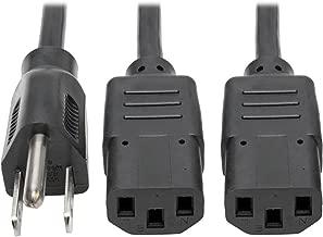 Tripp Lite Standard Power Cord Y Splitter Cable (NEMA 5-15P to 2x IEC-320-C13) 6-ft.(P006-006-2)