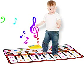 LOHOME Musical Piano Mat Kids Portable Piano Keyboard Mat 8 Different Musical Instruments Build-In Speaker & Recording Function with 10 Melodies