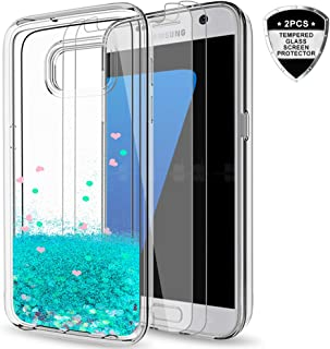 Galaxy S7 Glitter Case with Tempered Glass Screen Protector [2 Pack] for Girls Women, LeYi Cute Bling Shiny Quicksand Liquid Clear TPU Protective Phone Cover Case for Samsung Galaxy S7 ZX Turquoise