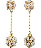Cabs Top/Drop Ball Pierced Earrings
