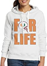 BFWL Women's Hooded Sweatershirts Hoodies University Of Miami Hurricanes For Life White