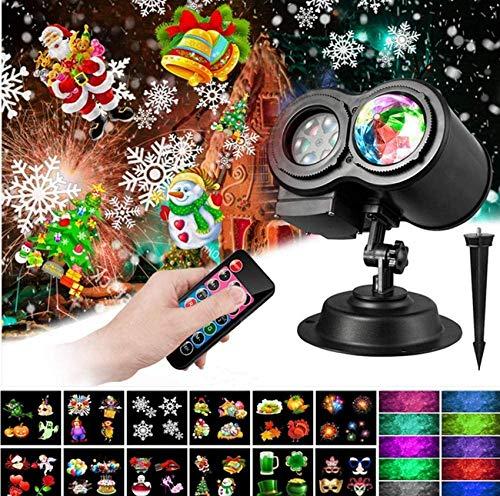 ZJJZ Luces de proyector navideñas, 2 en 1, proyector de luz oceánica Ondulada, 12 Diapositivas, 10 Colores de Onda, Paisaje, decoración de jardín, proyector de iluminación LED con Control Remoto