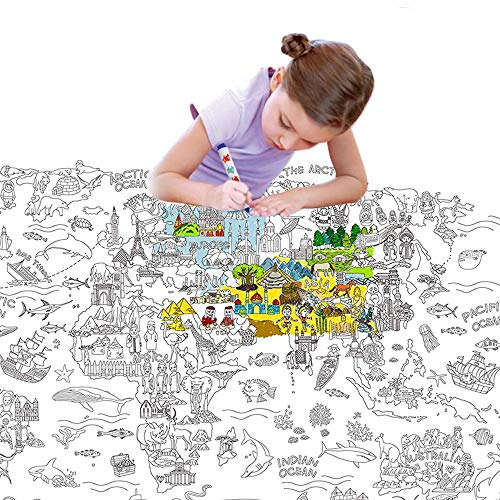 Jar Melo Giant Coloring Poster for Kids;World Map Jumbo Coloring Poster Wall ; 45.3' x 31.5'; Doodle Art Coloring; Drawing Fun-Super Painter, for Kids