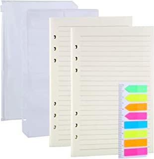 Antner 2 Pack A5 Refill Paper and 2Pcs A5 Binder Pockets, 160Pcs Neon Index Tabs, 6-Holes Refillable Notebook Inserts Line...