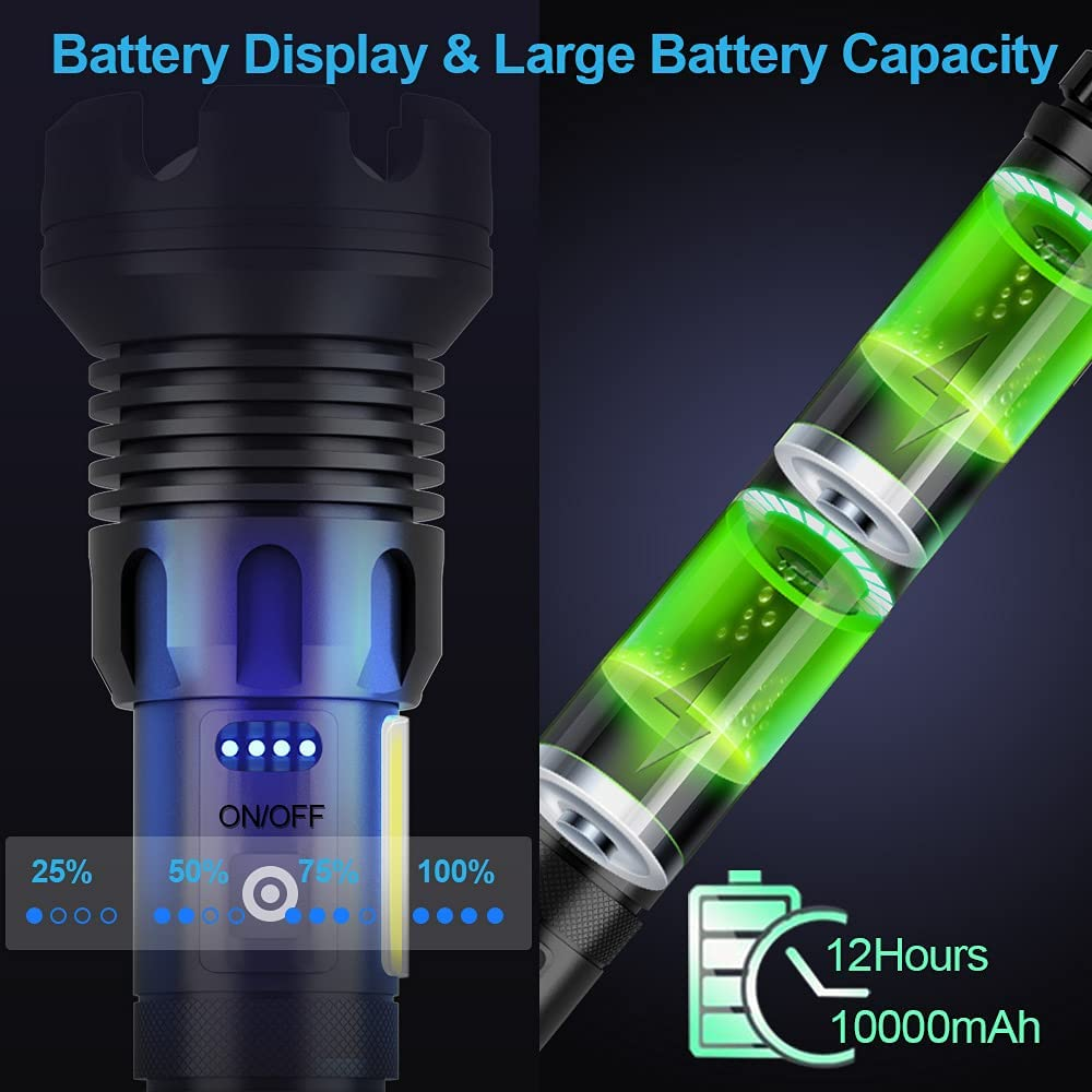 Rechargeable LED Flashlight High Lumens, 90000 Lumen Brightest Tactical Flashlight with 10000mAh Battery, Side Worklight, 7Modes Zoomable High-Power Flashlight&USB Rechargeable for Camping Emergency - -