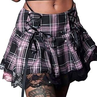 Falda gótica de cintura alta para mujer, plisada goth y2k punk mini a cuadros harajuku e girl 90s moda Fairycore falda corta