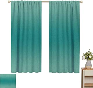 June Gissing Ombre Curtain for Bedroom Ocean Sea Marine Life Space Waves Inspired Teal Colored Design Digital Print Image Indoor Darkening Curtains W52 x L39 Teal