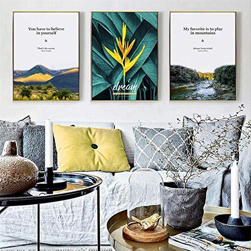 LWJZQT Schilderen, 3-delig, decoratie thuis, Noors, canvas, modern, landschap, bloemen, planten, foto, woonkamer, hal, hotel, wand, kunstfotografie